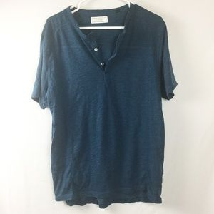 Five Four Henley T-Shirt Blue Teal Size Large